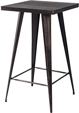 Merax Distressed Metal Bar Table, Pub Table 41.3Inch High (Golden Black)