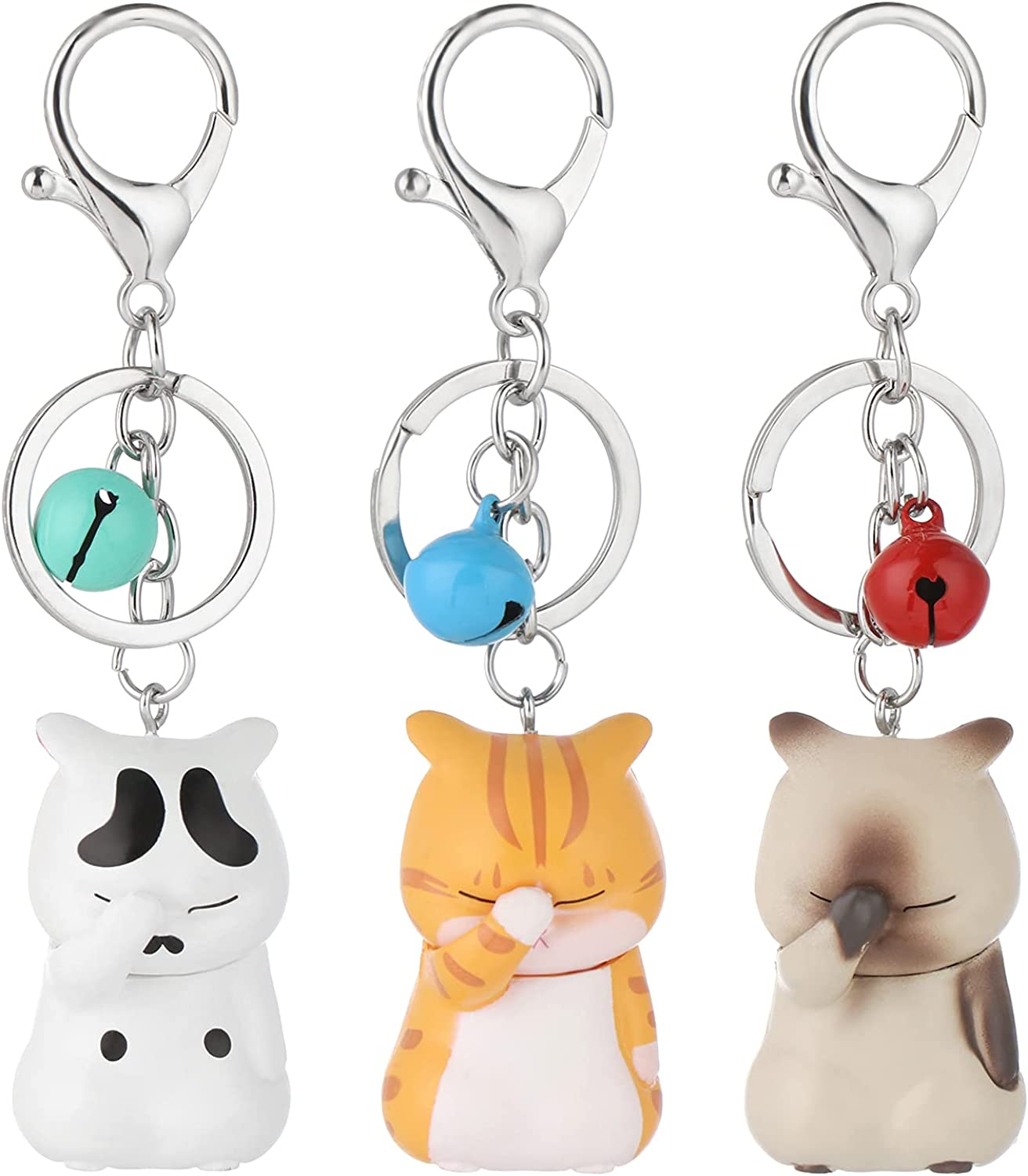 3PCS Cat Keychains with Bell,Cute Cartoon Cat Key Ring,White Grey Orange Cat,Durable Keyring for Handbags Purses Bags Belts