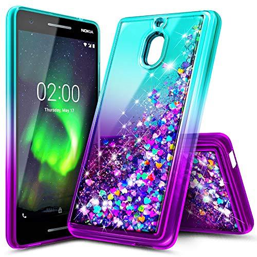 NageBee Nokia 2V Hülle, Nokia 2V Hülle, Glitzer Liquid Sparkle Bling Schwimmender Wasserfall Durable Mädchen Frauen Kinder Cute Case für Nokia 2.1 2018, Aquamarin/Lila