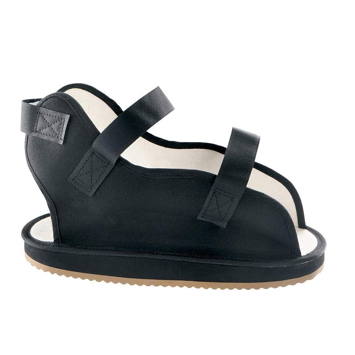 Ossur Canvas Rocker Bottom Cast Shoes - Premium Quality Maximum Post-Op Protection Contact Closure, Open Toe Sandal (Black, Large)