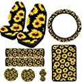 Dyshuai Sunflower Car Interior Accessories Set 9pcs-Car Front Seat Covers, Seat Belt Covers, Sunflower Car Steering Wheel Cover,Cup Holder, Keyrings,Center Console Armrest Pad Cover (Sunflower)