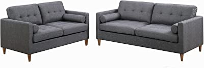 Major-Q Modern Blue Gray Tufted 2-Pcs Set with Sofa and Loveseat