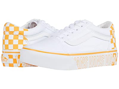 Vans Kids Old Skool Platform (Little Kid) (True White/Multi) Girls Shoes