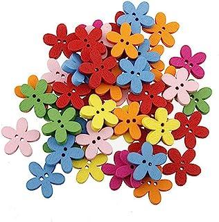 Botões de madeira misturados OULII Cor Flor lisa Botões de madeira Artesanato/Costura/Produtos quentes, Pacote com 100