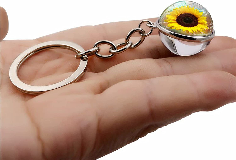 Lilico Personality Keychain Sunflower Time Gemstone Keyring Keyring Allmatch Gift Alloy Fashion Keychain