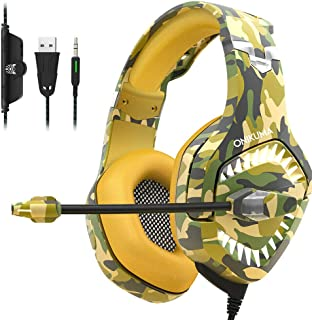 GZCRDZ K1-PRO Stereo Gaming Headset Over-Ear Headphones with Noise Canceling Mic Soft Breathing Earmuffs LED Light Mute & Volume Control for Mac Laptop Smartphone Tablet Xbox One PC PS4 (Yellow)
