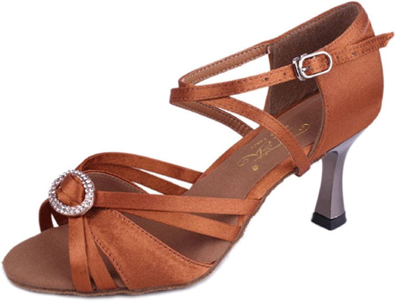 MsMushroom Woman's Satin With Buckle Dance shoes 3  Heel