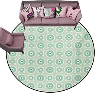 Outdoor Kitchen Room Floor Mat Mint,Retro Disc Shaped Inner Circles with Nostalgic Featured Geometric Graphic,Seafoam Almond Green Diameter 54″ Round Bath Rugs for Bathroom
