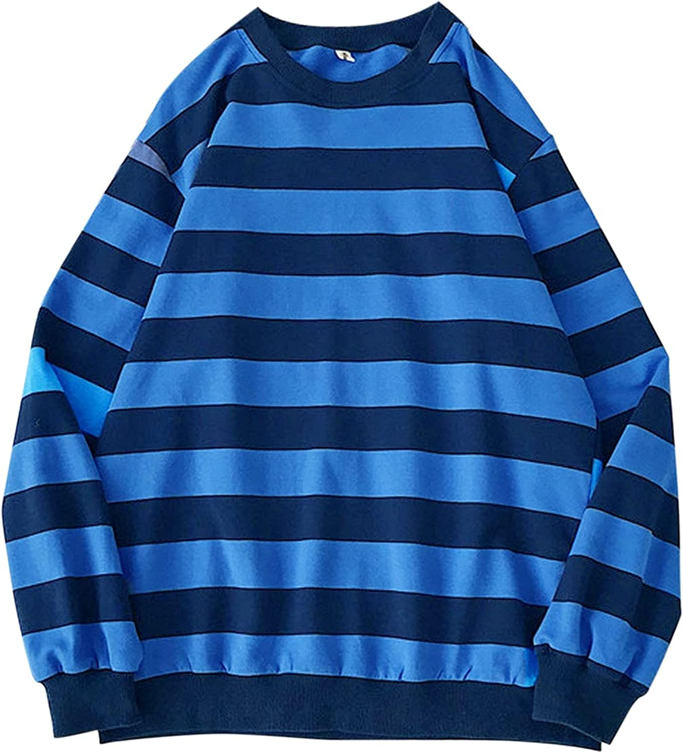 XXBR Striped Sweatshirts for Mens, Fall Long Sleeve Crewneck Loose Tops Young Teen Boys Street Fashion Casual Pullover