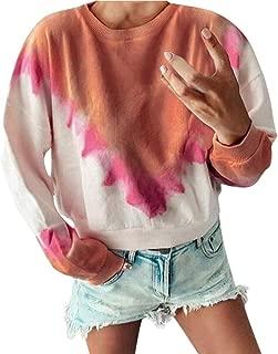 Womens Plus Size Tie Dye Crewneck Long Sleeve Casual Pullover Sweatshirt Blouses Shirts Tops