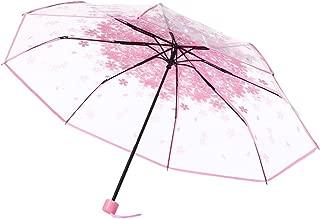 Transparent Clear Sakura Umbrella Cherry Blossom 3 Fold Sun Umbrella