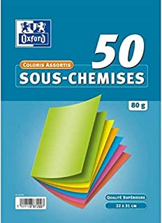 OXFORD Lot de 50 Sous-Chemises 22x31cm Papier 80g Coloris Assortis