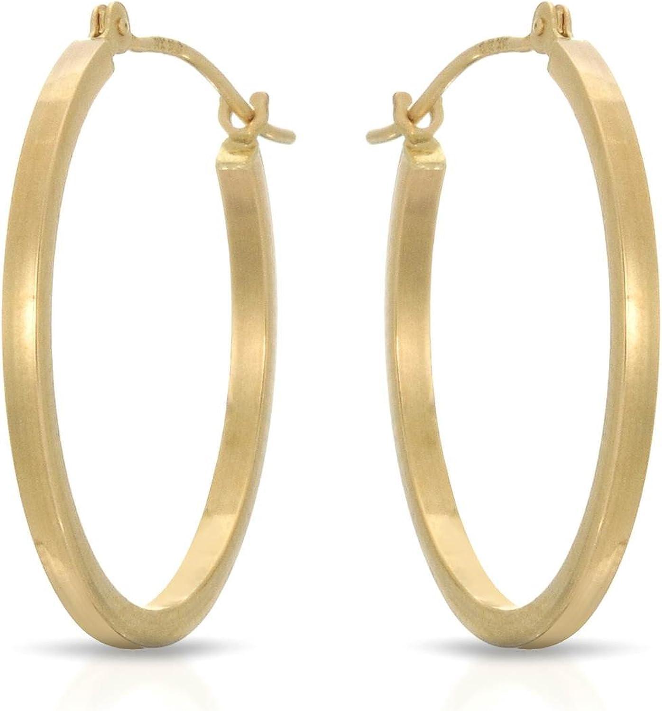 MCS Jewelry 14 Karat Classic Yellow Gold Square Earrin Tube 35% OFF Hoop 2021 new