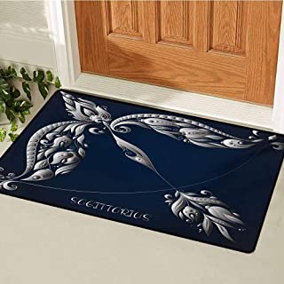 Zodiac Sagittarius Welcome Door mat Hand Drawn Bow Arrow Motif with Leaves Flowers Astrology Sign Door mat is odorless and Durable W47.2 x L60 Inch Dark Blue and Grey