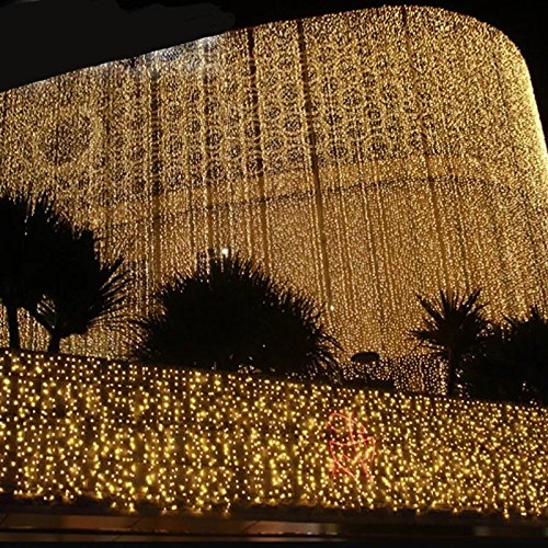 Led Curtain Lights 9.8 x 9.8 Feet 300 LEDs, 8 Modes with Waterproof Connector, Warm White