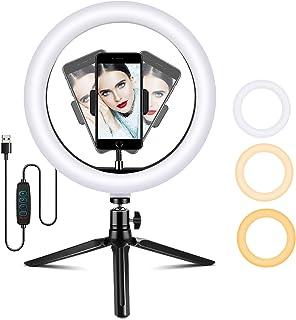 AmzKoi Ringlamp met statief van 10 inch, led-selfie-ringlamp met telefoonhouder, 3 verlichtingsmodi en 10 helderheidsnivea...