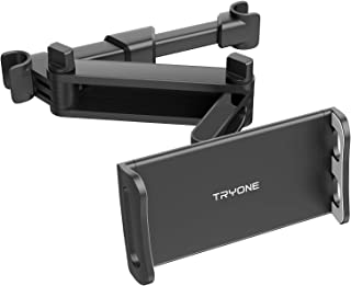 Car Headrest Tablet Mount - Tryone Stretchable Tablet Headrest Holder Compatible with Smartphones/Tablets/Switch 4