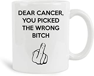 Dear Cancer You Picked The Wrong Bitch Mug, 11 oz Ceramic White Coffee Mugs, Perfect Tea Cups For Cancer Survivor, Novelty Gifts With Cancer Awareness Sayings, Best Chemotherapy Presents