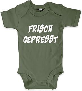 net-shirts Organic Baby Body mit Frisch Gepresst Aufdruck Spruch lustig Strampler Babybekleidung aus Bio-Baumwolle mit Zertifikat