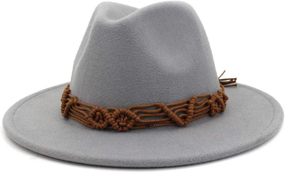 LIRRUI Autumn Winter Women's Men's Cotton New Wide-Brimmed Fedora Hat Jazz Hat Panama Formal Hat Church Party Hat (Color : Gray, Size : 56-58cm)