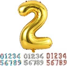 Ponmoo Foil Globo Número 2 Dorado, Gigante Numeros 0 1 2 3 4 5 6 7 8 9 10-19 20-29 30 40 50 60 70 80 90 100, Grande Globos para La Boda Aniversario, Globo de Cumpleaños Fiesta Decoración