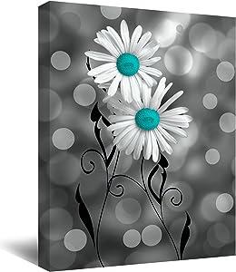 Teal Blue Flower Wall Art Turquoise Flower Bedroom Decor Teal Blue Flower On Black and White Canvas Wall Art Bathroom Decor Blue Flower Paintings Artwork Kitchen Living Room Home Decoration Rustic Love Valentine Girls Gift No Frame