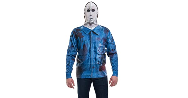 New FAUX REAL MICHAEL MYERS FULL ZIP HOODIE MASK HALLOWEEN