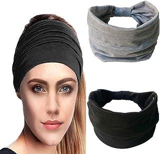 IYOU Diademas anchas para mujer Bandas de pelo anudado Banda de sudor negro Diadema de algodón para mujeres y niñas (paque...