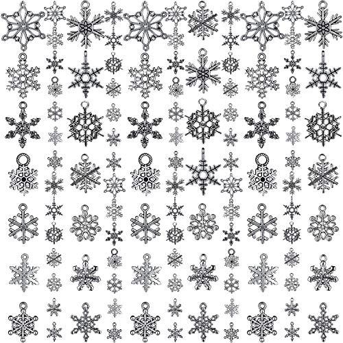 WILLBOND 70 Stücke Weihnachten Schneeflocke Charme Silber Sammlungen Antike Anhänger Charme Schmuck Bastel Bedarf für DIY Halskette Armband (Weihnachten Schneeflocke)