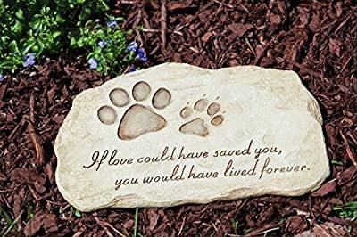 Pet Loss Memorial Garden Stone Marker With Paw Prints