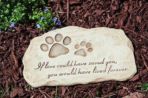 "Evergreen Garden Pet Paw Print Devotion Painted Polystone Stepping Stone - 12""W x 0.5""D x 7.5""H"