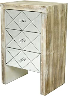 Heather Ann Creations The Laurel Collection Contemporary Style Wooden Mirrored 3 Drawer Living Room Accent Chest, White Wash