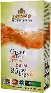 Lakma Fruity Tea Collection Citrus Burst Green Tea Lemon & Orange - 25 Tea Bags (GMO Free, Gluten Free, Dairy Free, Sugar Free and 100% Natural)