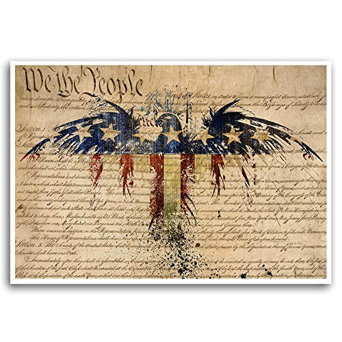 American flag art print, Us Constitution, american eagle, Patriotic decor