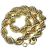 Bling Cartel Huge Mens 14k Gold Plated Chain Hollow Rope Dookie 30MM Wide x 36' Hip Hop Rapper Necklace