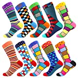 Men's Fun Dress Socks Crew Colorful Funky Fancy Novelty Funny Casual Patterned Socks for Men (10 Pairs-Medley6)
