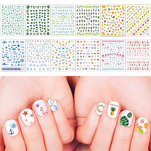 Whaline 1000+ Mixed Nail Art Stickers 3D Self-Adhesive Leaves Stickers Flamingo Cactus Fruits Ocean Leaves Decals for Women Girls Kids Manicure DIY or Nail Salon, 12 Sheets