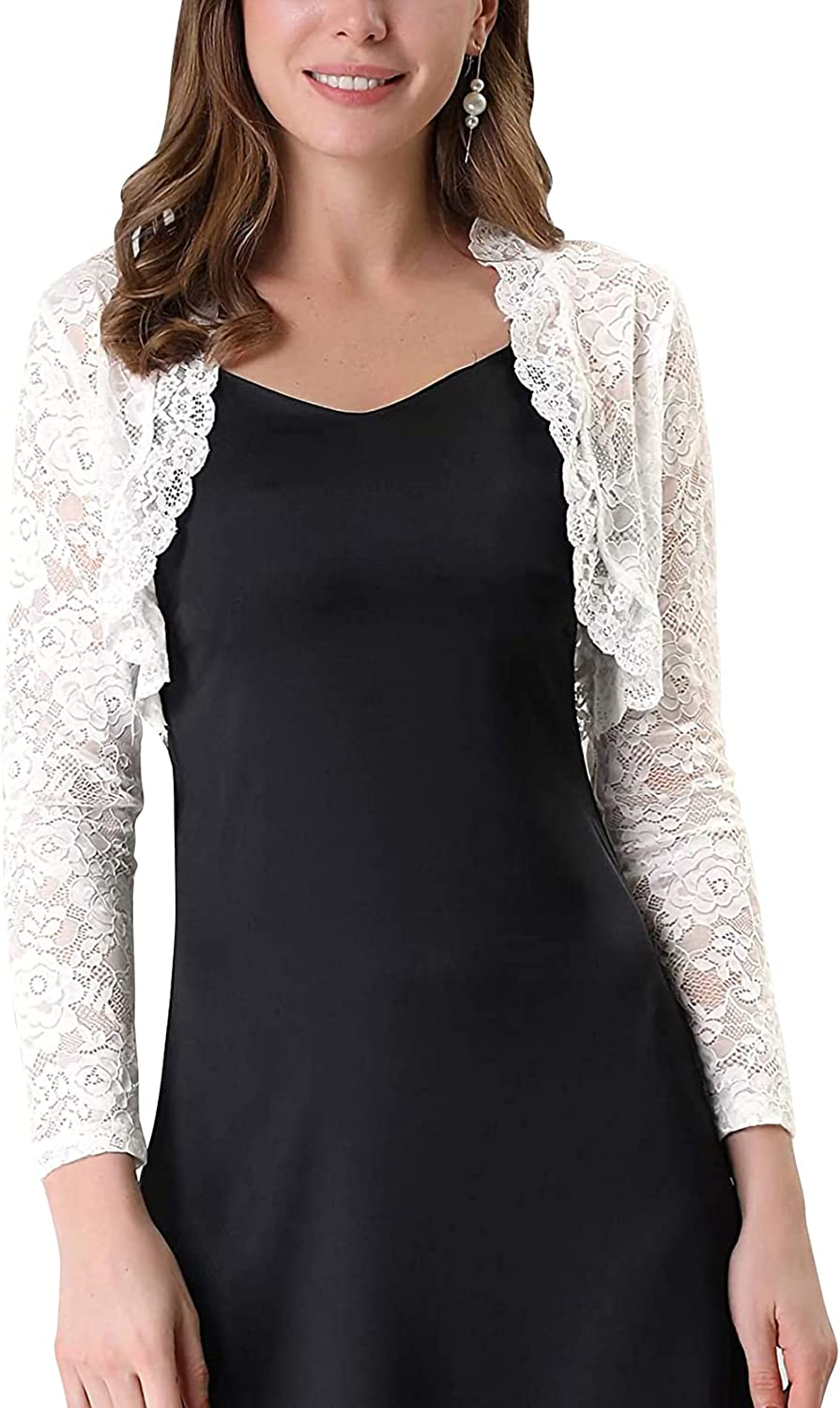 Women Long Sleeve Lace Bolero Crop Cardigan Vintage Floral See Through Shrug Top Y2k Open Front Cropped Sheer T-Shirt