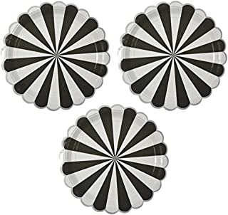 Disposable Party Paper Plates Stripe Dessert Plates 7-Inch for a Tea Party, Picnic or Birthday, Pack of 24 (7 in, Black)