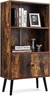 COSTWAY Aparador Vintage con Estantes y Puerta Estantería Librería Mueble para Hogar Oficina Salón Marrón