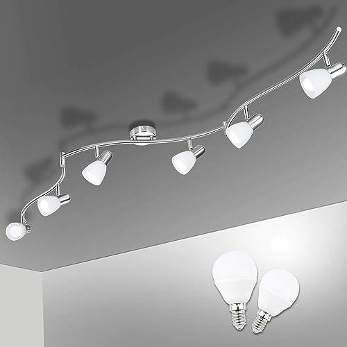 Plafonnier LED 6 Spots Orientables, Bojim 6 x Ampoule E14 6W 2800K Blanc Chaud LuminairePlafond, Plafonnier Moderne ...