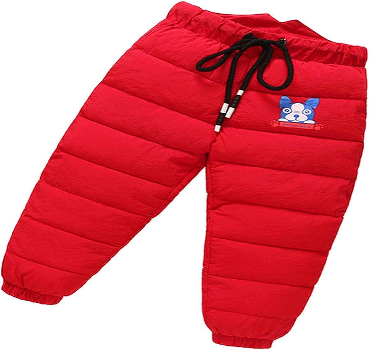 Little Boys Girls Winter Warm Cute Dog Drawsting Puffer Down Thick Snow Pants Windproof Elastic Ski Bib Pants