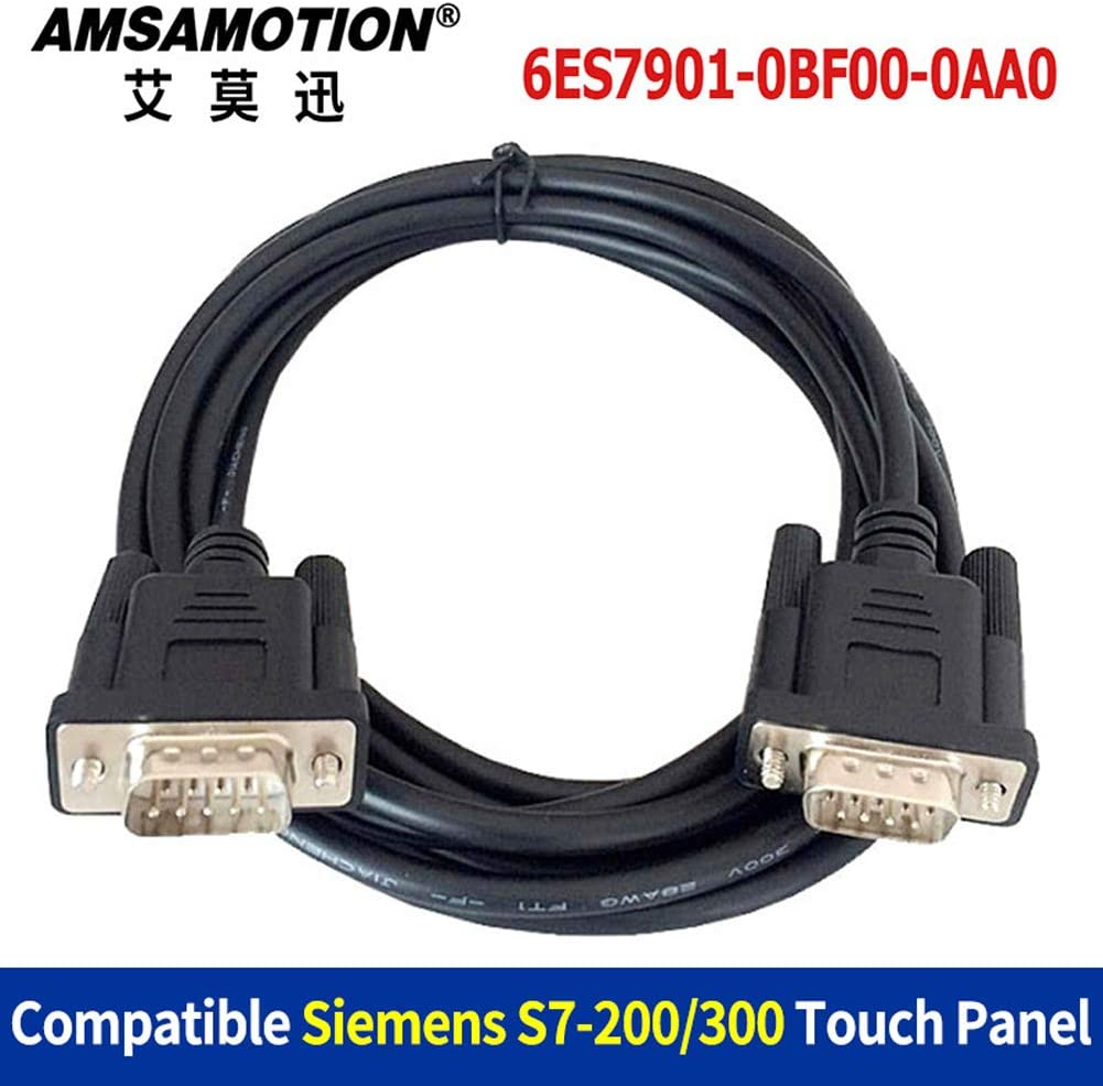 6ES7901-0BF00-0AA0 for Siemens S7-200//300 Series PLC Connect S7 HMI Touch Panel Programming Cable 0BF00 Data Male to Male Interface 3m, black