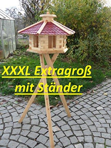 Maxi Vogelhäuschen XXXL Futterhaus Futterhäuschen Vogel Vogelhaus Pavillon Vogelvilla mit oder ohne 3 Bein-Ständer Sonderpreis Futterspender (Rot mit 3 Beinständer)