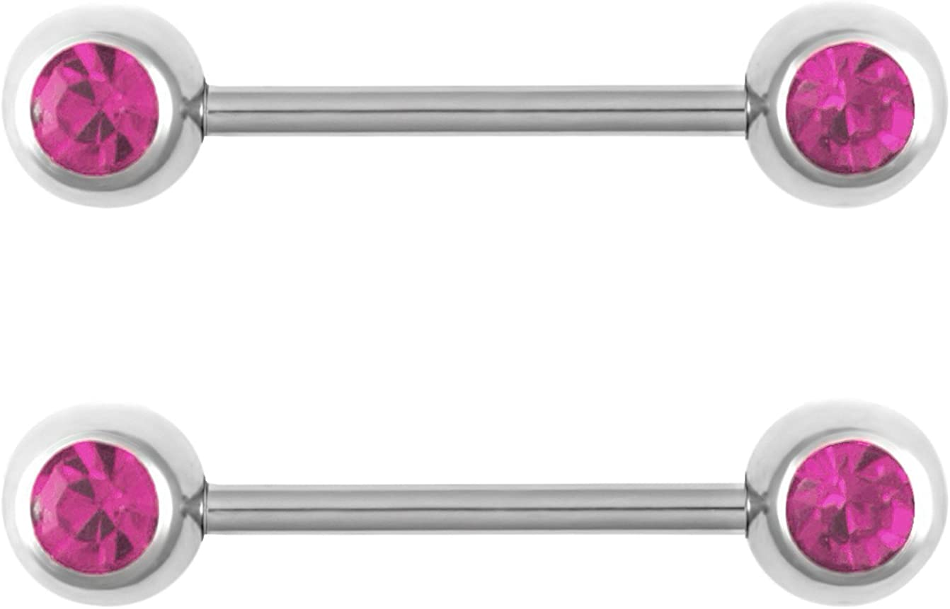 Forbidden Body Jewelry 14g Nipple Ring Barbells Set of 2, Pair of CZ 16mm (5/8 Inch) Barbells with 6mm Balls