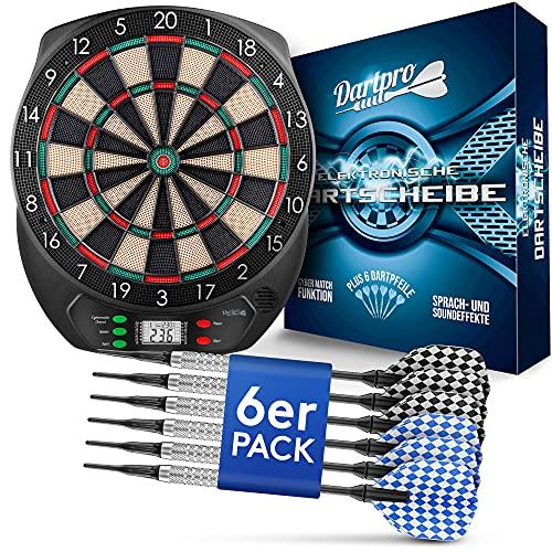 DartPro DAS ORIGINAL - Elektronische Dartscheibe - Dartboard mit 6 Darts [kabellos nutzbar] - Innovativer Dartautomat mit 65 Varianten - Dart für 1 bis 8 Spieler