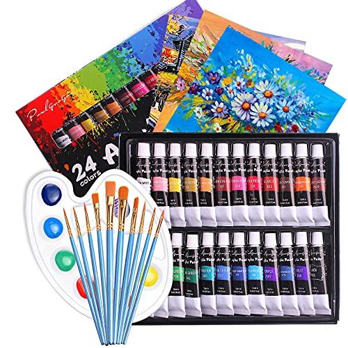 Peinture Acrylique 24 PCS, Peinture Acrylique Gouache Non Toxique Tubes 24 × 12 ml avec 10 Pinceaux,1 Palette,3 Toiles pour Artistes Débutants, Kit Peinture pour Artiste, Bois, Céramique, Tissu