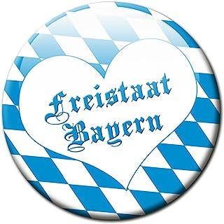 Kühlschrankmagnet Flagge Bayern mit Herz Geschenk Magnet Fan Länder Souvenir für Magnettafel stark groß Durchmesser 50 mm