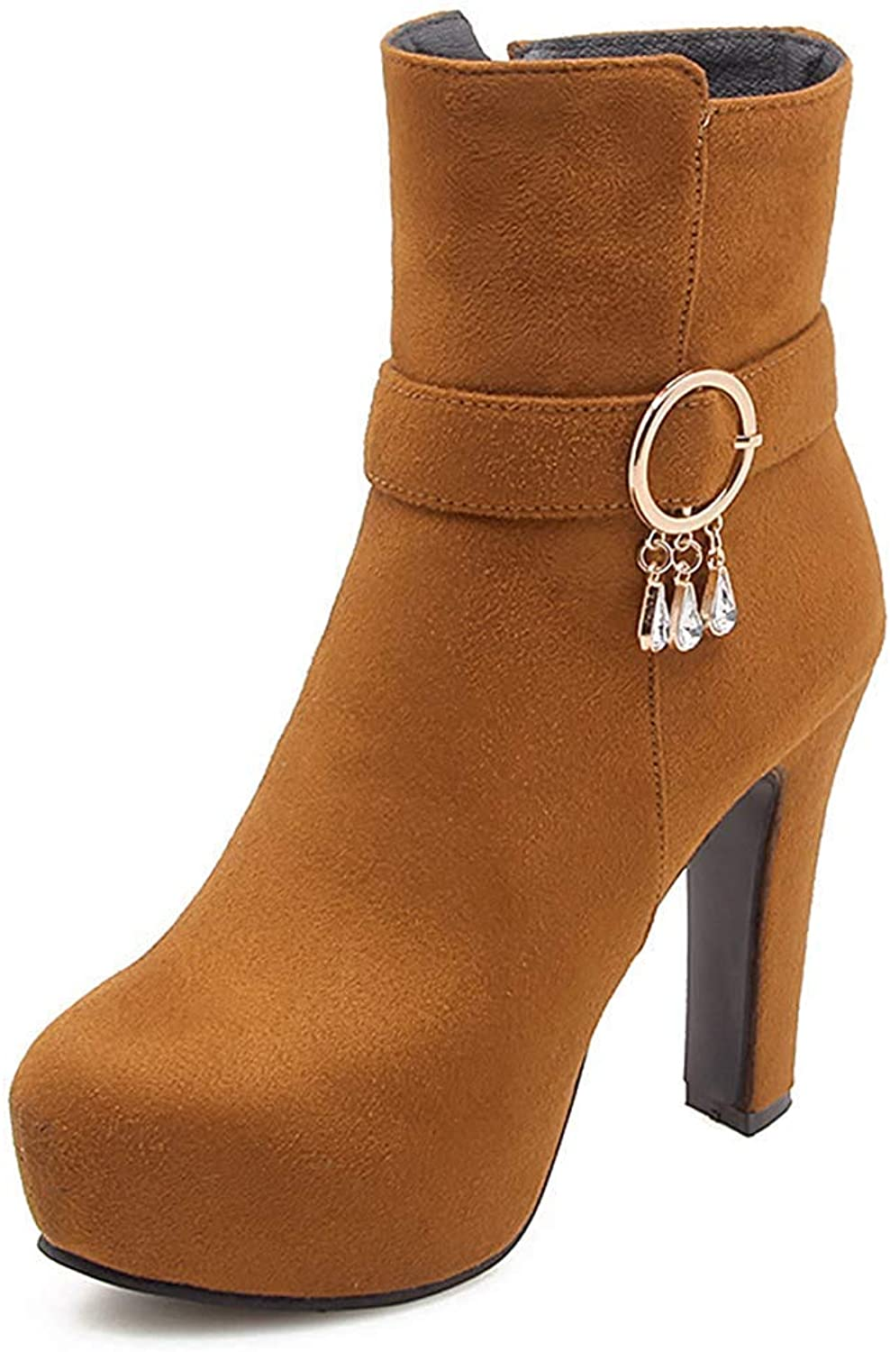 Women's Fashion Faux Suede Round Toe Rhinestone Platform High Chunky Heels Short Boots with Side Zipper