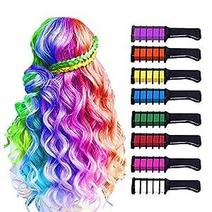 8 Piezas Hair Chalk Peine de Tiza para el Pelo para Niñas y Niños, de Color Brillante Temporal para Niños Niñas Regalos, Lavable, Tinte para el Pelo para, Cumpleaños, Cosplay, Fiesta